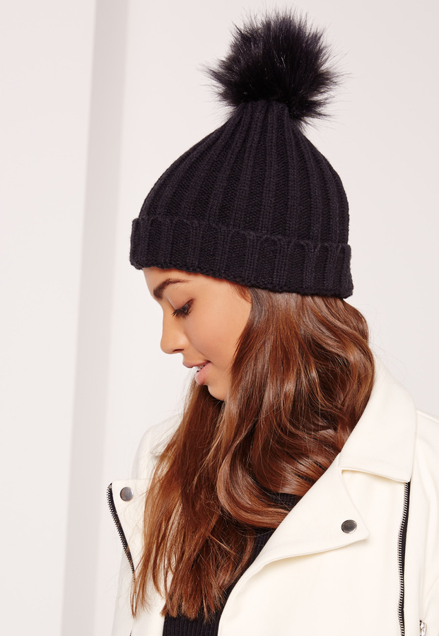 Missguided Black Faux Fur Pom Pom Beanie  8ac1a0c87ff
