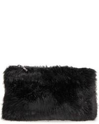Faux Fur Clutch Black