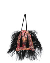 ATTICO Feathered Jacquard Pouch Bag