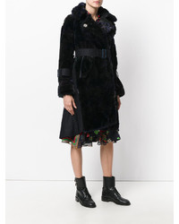 Sacai Belted Faux Fur Coat