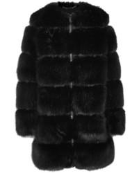 Givenchy Mesh Trimmed Faux Fur Coat Black