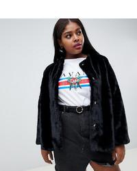 New Look Plus New Look Curve Faux Fur Coat In Black