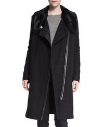 Vince Asymmetric Fur Collar Coat