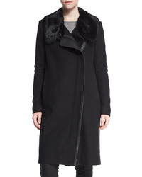 Vince Asymmetric Fur Collar Coat