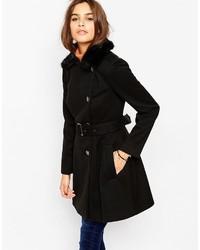 Asos Collection Skater Coat With Faux Fur Collar