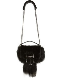 Tod's Mini Double T Genuine Fox Fur Genuine Mink Shoulder Bag Black
