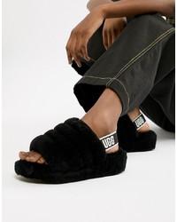 UGG Black Fluff Yeah Slides