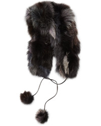 Fox fur hat with pompom black medium 166388