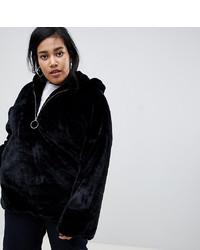 Glamorous Curve Half Zip Hooded Jacket In Faux Fur