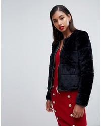 Morgan Reversible Faux Fur Panelled Cropped Jacket In Black