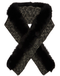 Fur trimmed wool blend scarf medium 1054619