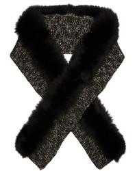 Moncler Fur Trimmed Wool Blend Scarf