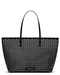 Black Geometric Leather Tote Bag