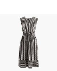 J.Crew Petite Cap Sleeve Dress In Silk Geo Print