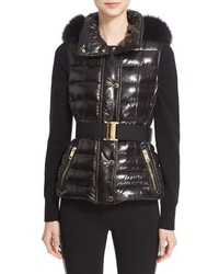 Burberry Willowbank Hooded Down Vest With Genuine Fox Fur Trim