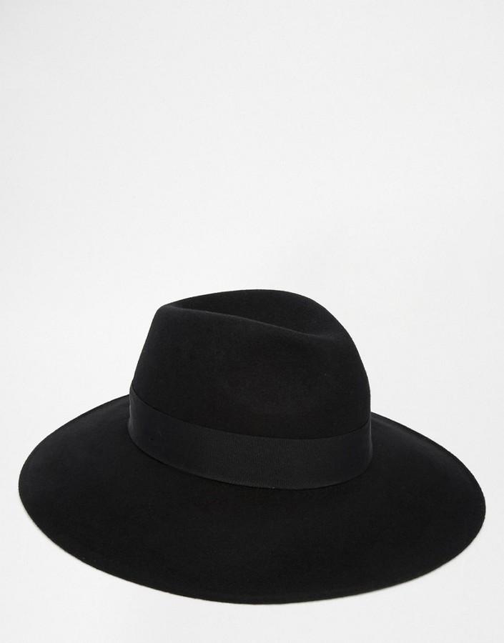 ... Asos Brand Fedora Hat In Black Felt With Wide Brim ... 73667597684