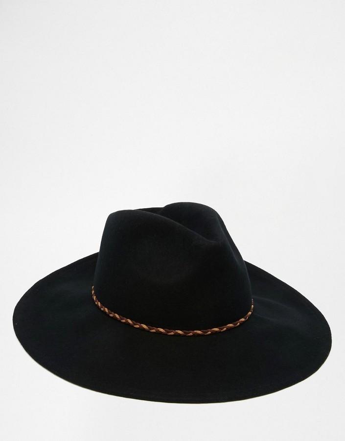 ... Asos Brand Wide Brim Fedora Hat In Black Felt With Braid Band ... cb0d91f8465