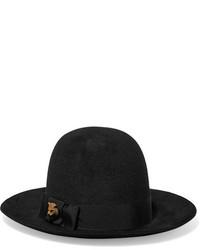 Gucci Embellihed Rabbit Felt Fedora Black