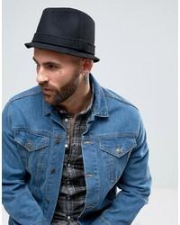 Asos Narrow Brim Felt Hat In Black