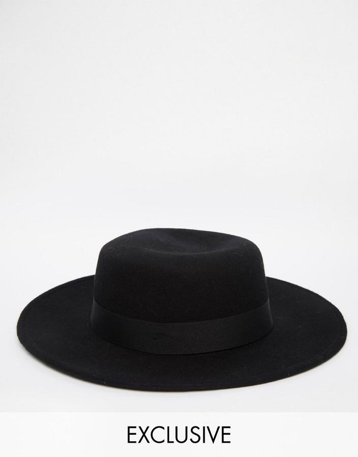 ... Reclaimed Vintage Wool Pork Pie Hat With Wide Brim ... a33ef71b145