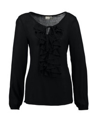 Cream Sibel Flounce Blouse Pitch Black