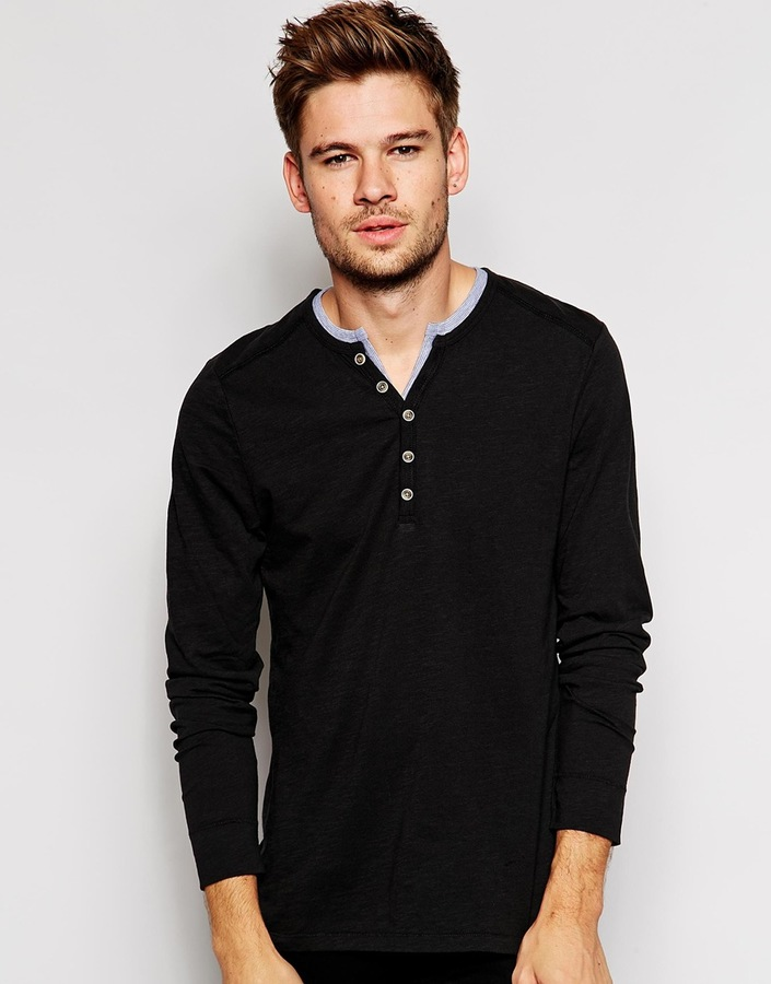f53a012b9b9 £37, Esprit Long Sleeve Henley Top With Contrast Collar