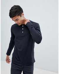 Selected Homme Long Sleeve T Shirt With Henley Neck Beauty