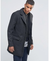 Selected Homme Herringbone Overcoat With Detachable Lining