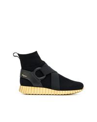 Salvatore Ferragamo Hi Top Wave Sole Sneakers
