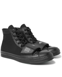 Converse Neighborhood Chuck 70 Moto Rubber Trimmed Leather And Canvas High Top Sneakers