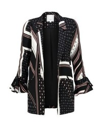 River Island Phoenix Spliced Ditsy Blazer Black