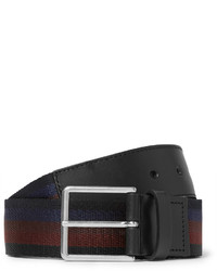 Paul Smith 35cm Leather Trimmed Striped Canvas Belt