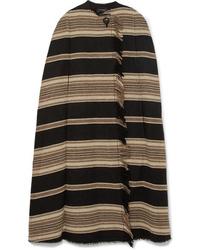 Isabel Marant Huan Fringed Striped Wool Blend Cape