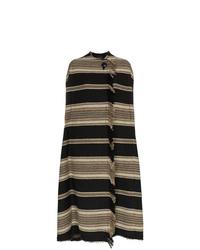 Isabel Marant Huan Striped Wool Poncho Coat
