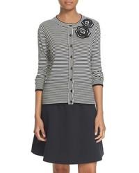 Kate Spade New York Rosette Stripe Cotton Blend Cardigan