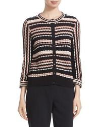 Kate Spade New York Scallop Stripe Cotton Blend Cardigan