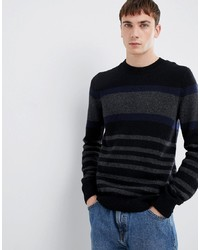 Selected Homme Knitted Jumper With Block Stripe In Lambswool