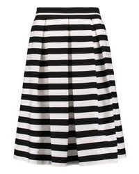 mint&berry Repeat Striped Pleated Skirt Black