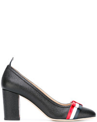 Thom Browne Medium Block Heel With Red White And Blue Leather Bow In Pebble Grain