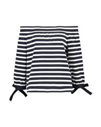 J.Crew Off The Shoulder Print T Shirt Navyivory
