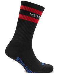 Vetements Striped Cotton Blend Socks Black