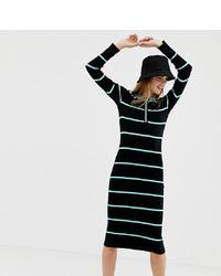 Collusion Knitted Midi Dress In Stripe
