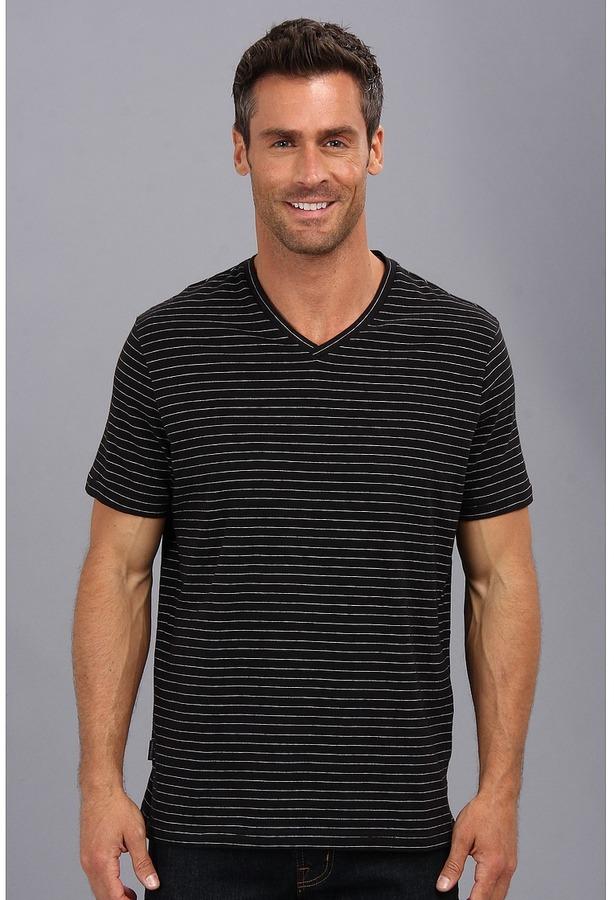 a681304ba9 Perry Ellis Ss Cotton Stripe V Neck T Shirt
