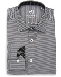 Bugatchi Big Tall Trim Fit Houndstooth Dress Shirt