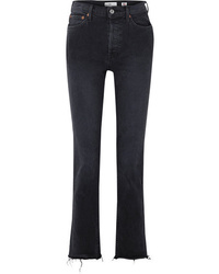 RE/DONE Double Needle Long Frayed High Rise Slim Leg Jeans