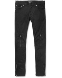 Alexander McQueen Slim Fit Leather Trimmed Stretch Denim Jeans