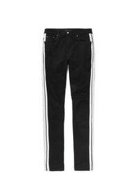 Amiri Track Skinny Fit Striped Distressed Stretch Denim Jeans