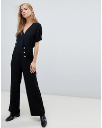 Pimkie Button Front Jumpsuit In Black