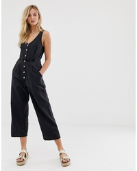 ASOS DESIGN Button Through Jumpsuit In Washed Black