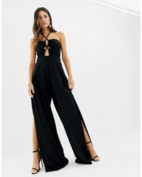 ASOS DESIGN Cross Front Jumpsuit With Split Leg